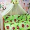 Постельный комплект «Алинка» «7 предметов» с бантом - «Божья коровка» - цвет салатовый