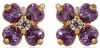 Серьги гвоздики с аметистовыми цирконами позолота Gold Filled (GF114)