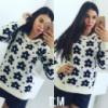 Женский стильный свитер в цветы