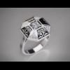 Золотое кольцо с эмалью и вставкой циркония «Exotics».
