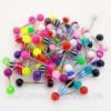 Украшения (цена за 5 шт.) для пирсинга языка из медицинской стали с цветными акриловыми шариками