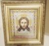 Икона «Спас нерукотворный» ручной работы вышитая крестом
