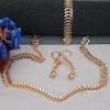 Ювелирная бижутерия, комплект украшений, розовая позолота 18К ( цепочка, серьги, браслет).