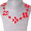 [15-35 мм.] Ожерелье ромбики и цветы из сердечек со стразами-серединками, металл Gold и красный глянец Код:368129042