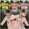 Куртка-Пальто удлиненная зимняя на девочку с разными нашивками Капюшон с мехом