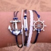 Винтажный кожанный браслет на руку Море