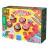 Незасыхающая масса для лепки - ФРУКТОВЫЕ КЕКСЫ (4 цвета, в пластиковых баночках, инструменты) от Ses - под заказ