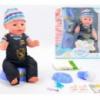 Кукла-пупс Baby Born (копия), черный полукомбинезон, полный к-т. BL013B