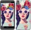 Чехол на HTC Desire 820 Девушка с цветами «2812c-133-9980»