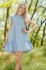 Голубое Льняное Платье Свободного Кроя С Оборкой (Голубой) 1192_1