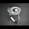 Золотое кольцо с эмалью и жемчугом «Unknown worlds».