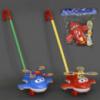 Каталка 0369 (72) «СУПЕР КРЫЛЬЯ» на палочке, 2 цвета, с погремушкой, в кульке
