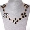 [15-35 мм.] Ожерелье ромбики и цветы из сердечек со стразами-серединками, металл Gold и черный глянец Код:368129043