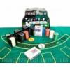 Покерный набор (2 колоды карт,200 фишек,сукно)(25,5х20,5х10 см)(вес фишки 4 гр. d-39 мм) Код:23716