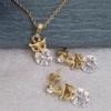 Ювелирный комплект «Лисенок», покрытие золото 18К:цепочка, кулон, серьги. Камень - циркон.