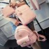 Набор под рептилию Люкс (рюкзак, сумка, кошелек) розовый