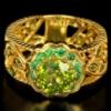 Серебряное позолоченное кольцо 925 ХРИЗОЛИТ, ЦАВОРИТЫ