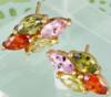 Серьги гвоздики с разноцветными цирконами позолота (GF102)