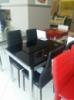 Стол стеклянный раскладной ТВ017 черный 110\170*75*75см