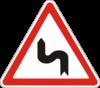 Предупреждающие знаки 1.3.2(поворот  левую сторону)