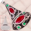 -30% Серебряный кулон в турецком стиле с рубинами, изумрудами, топазами, марказитами