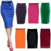 Трикотажная юбка классическая до колена с поясом