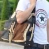 Мужская сумка на ремне, с ручками, материал холст