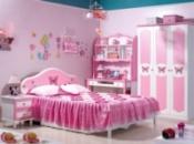 Набор мебели для спальной девушки Роза (Кровать 1,5 м + тумбочка+ стол+ гардероб)