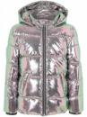 Куртка деми розовая блестящая фольга металлик серебро George
