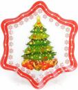 Набор 6 новогодних тарелок «Снежинка» Ø27см, стеклянные