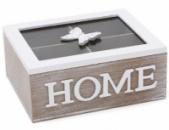 Коробка-шкатулка «Home» для чая и сахара 4-х секционная 20x16x8.5см