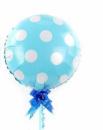Фольгированный шар горох голубой полька 44 см