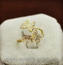 Кольцо «Бабочка» позолота 18К с кристаллами