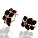 Черные цветы серьги
