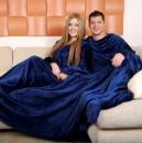Махровые пледы с рукавами для двоих Синий