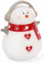Новогодняя статуэтка-копилка «Снеговик в красном шарфе» 17см