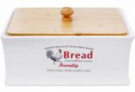 Хлебница керамическая «Тоскана» Family BREAD 32х18.5х18.5см с деревянной крышкой
