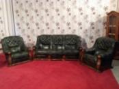 Шикарный комплект кожаной мебели на массивном дубовом каркасе