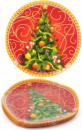 Набор 6 новогодних стеклянных тарелок «Елочка» Ø25см