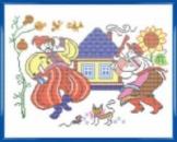 Украинская семья канва с нанесенным рисунком (рисунок смываемый)