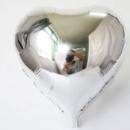 Шар сердце фольгированное серебро 18'' 45 см