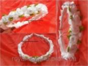 Обруч «Венок» с цветками белый.