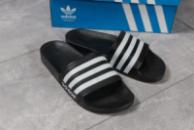 Шлепанцы мужские 16281, Adidas, черные ( 41 43  )