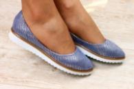 Женские кожаные балетки фиолетово - серебристые