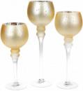 Набор 3 стеклянных подсвечника Claudine 30см, 35см, 40см, матовое золото