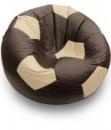 Шоколадно-бежевое кресло-мяч из кожзама