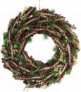 Новогодний декоративный венок «Зеленые ветки» Ø40см с натуральными шишками