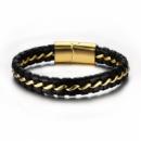 Мужской браслет из натуральной кожи со стальной позолоченой цепью 18К