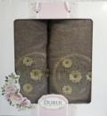 Набор 2 полотенца Durul M3 зеленые 3D с вышивкой (50х90 и 70х140см), хлопок