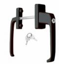 Ручка балконная двухсторонняя с узкой розеткой и ключом, коричневая.